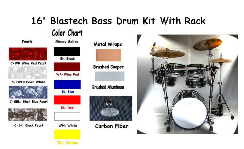 "Blastech Drum Set with Rack & 16"" Bass Drum"