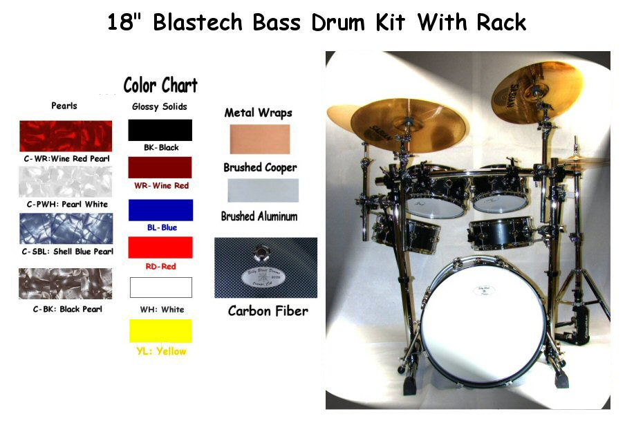 "Blastech Drum Set with Rack & 18"" Bass Drum"
