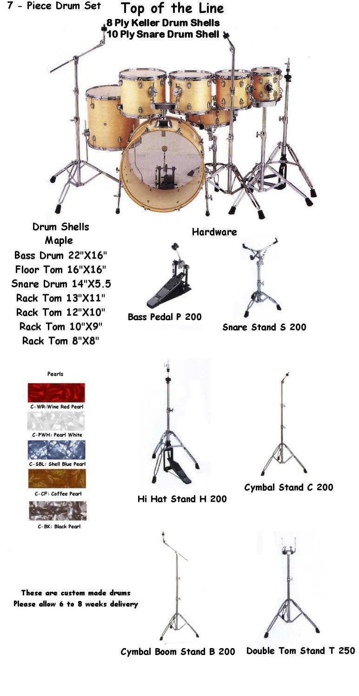 HD 20722 7 Piece Pearl Drum Kit