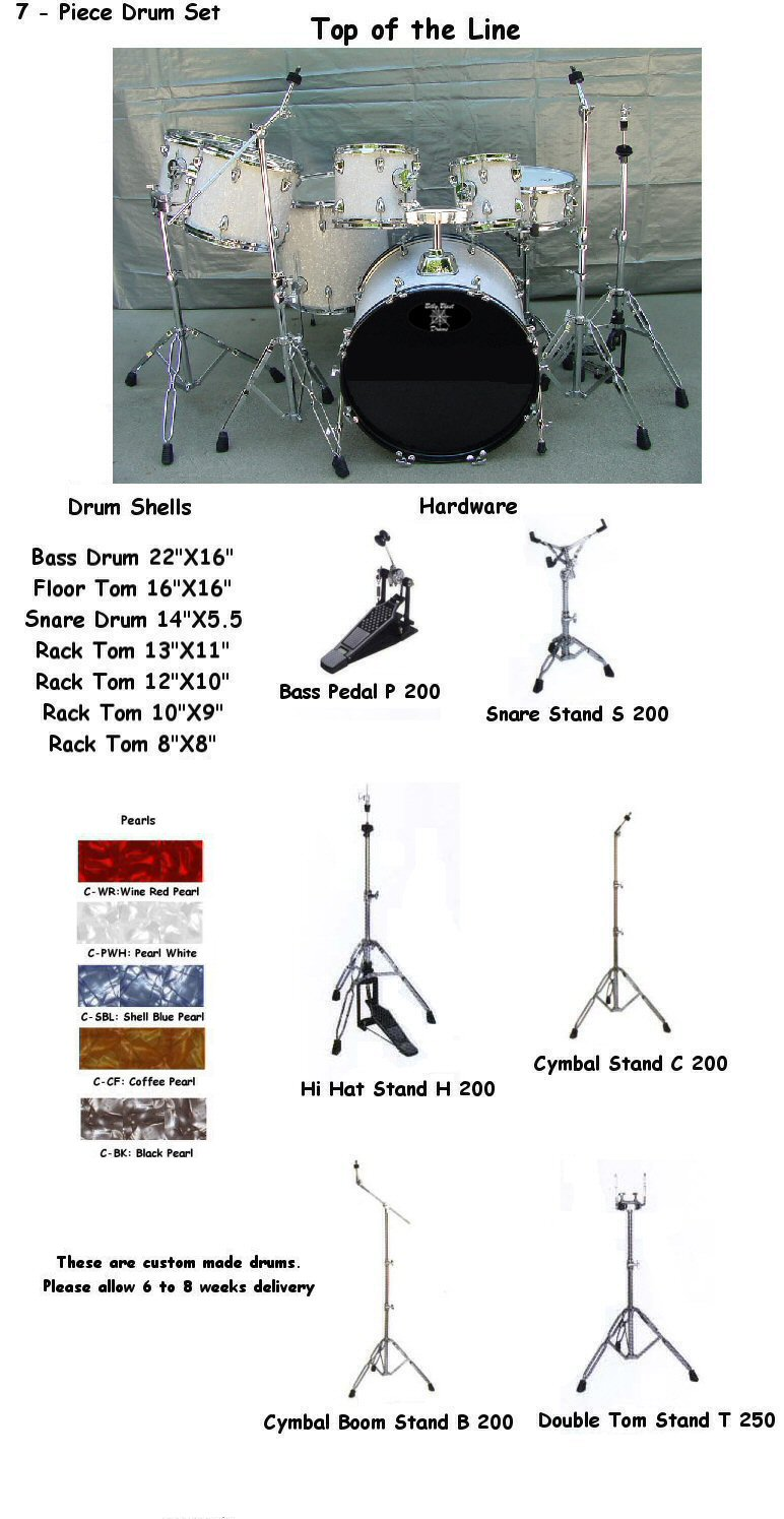 HD 20722 7-Piece White Pearl Drum Set