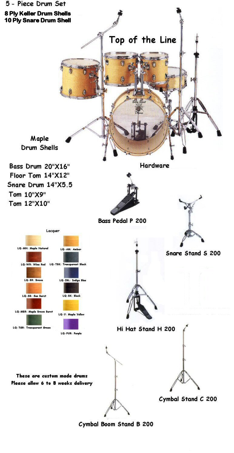 Hd 520 5 Piece Lacquer Drum Kit Snare Diagram