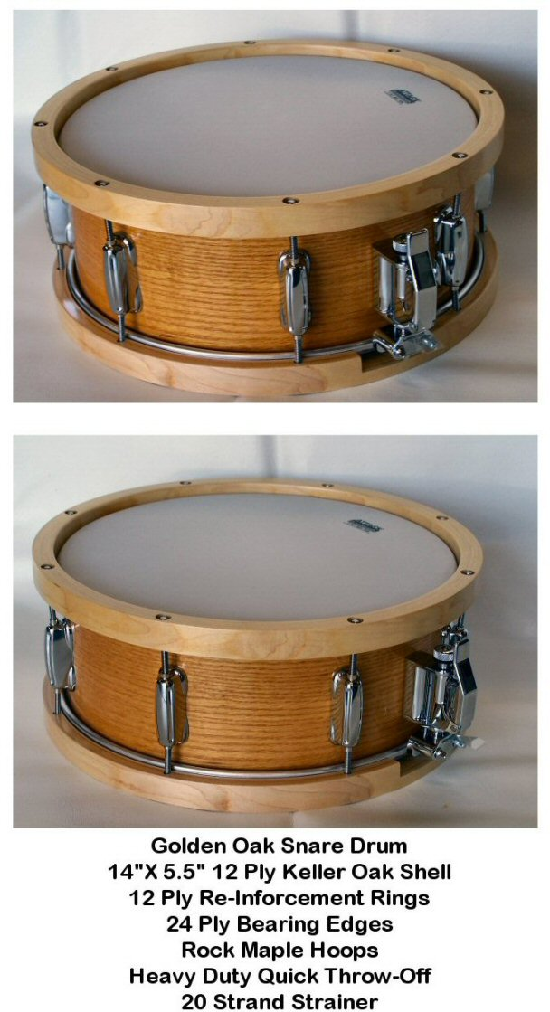 "14"" X 5.5"" 12ply Hi Gloss clear Lacquer Golden Oak Snare Drum"