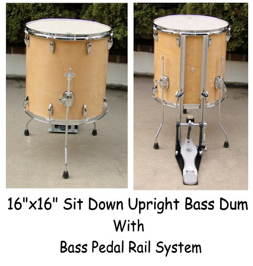 Upright Bass Drum with Pedal Rail System