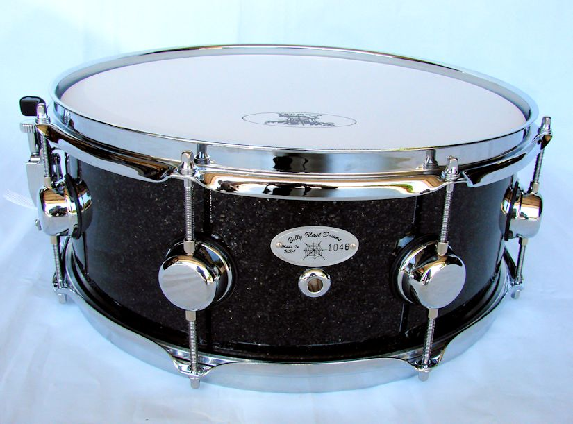 14x5.5 12ply Black Glass Glitter Snare Drum