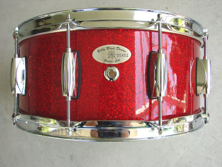 "14"" X  6"" 15ply Hi Gloss Red Glitter Snare Drum"