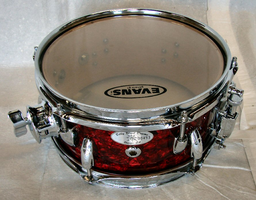 "10""X6"" 8ply Hi Gloss Red Pearl PopCorn Snare Drum"