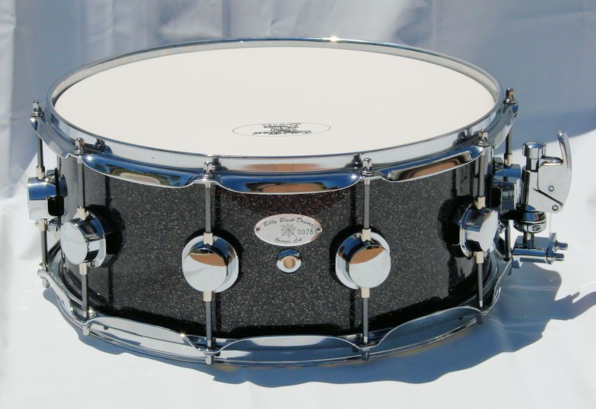 "14""x6"" 10ply Black Glass Glitter Snare Drum"