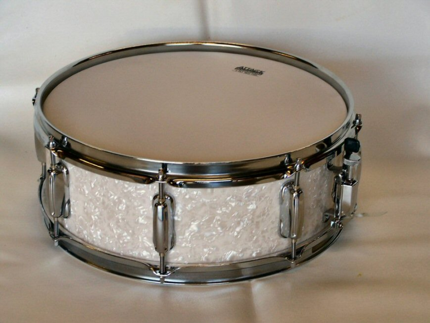 "14""X5"" 10ply Hi Gloss White Pearl Snare Drum"